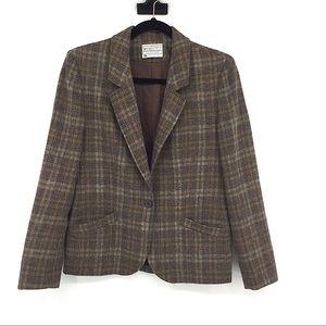 Pendleton Vintage Wool Plaid Brown Blazer Small